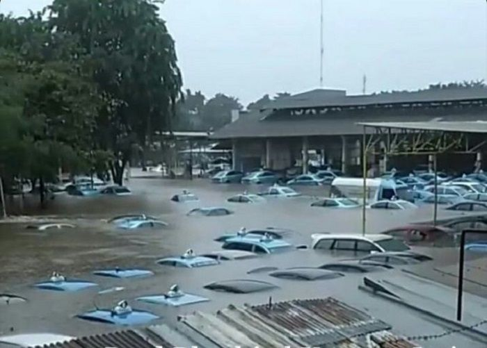 Taksi Bluebird tampak terkena dampak hujan dan banjir jabodetabek