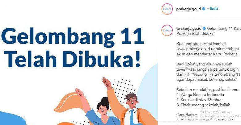 Serbu Pendaftaran Gelombang 11 Kartu Prakerja Telah Dibuka Hari Ini Sabumi